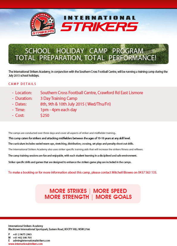 JULY 2015 SCHOOL HOLIDAY TRAINING CAMPS - Lismore Workers FC