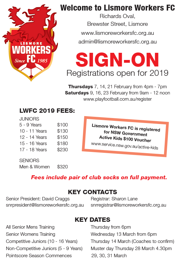 Lismore Workers FC SIGN-ON Registrations open for 2019